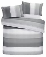 CLASSIC WIDE STRIPE GREY WHITE COTTON BLEND KING SIZE DUVET COVER