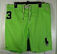 NWT MEN'S POLO RALPH LAUREN CLASSICS LIME/NAVY BOARD SHORTS SWIMMING SUIT  L, XL
