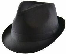 Mens Trilby Hat Cotton Mix Plain Black Gangster fedora Sun Ladies Women's Boys