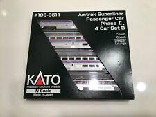 Kato Amtrak Phase II Superliner 4 car set B 106-3511 Phase 2 N scale