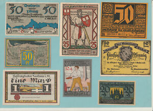 GERMANY - 8 Notgeld All different 1920's - 7 UNC & 2 a/UNC -  Pack#2748 - LOOK!!