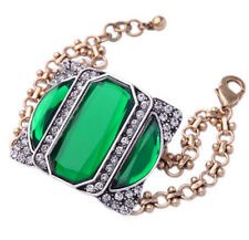 GREEN DESIGNER ART DECO Crystal Rhinestone Silver Gold Chunky Statement Bracelet