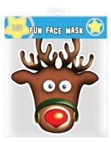 Rudolphe Le Renne Noël Simple 2D Carte Masque Visage - Super Pour Noël Fêtes