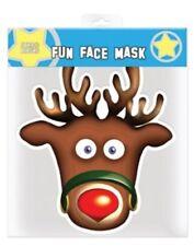 Rudolph el Reno Navidad Individual 2D Tarjeta Mascarilla - Ideal para Fiestas