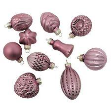 Elegant Art Glass Pink Mini Ornament Set Of 10 Old Fashioned Christmas Small