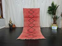 """Moroccan Tribal Vintage Handmade Rug 2'9""""x6'5"""" Geometric Red Wool Berber Carpet"""