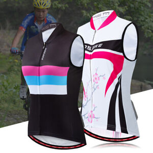 Ladies Sleeveless Cycling Jersey Women's Reflective Cycling Vest Shirt Cycle Top