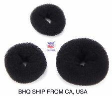 WOMEN HAIR BUN RING DONUT SHAPER 3 SIZE IN PACKAGE. (BLACK)