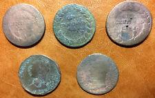 Lot cinq 5 centimes DUPRE bronze Rèpublique française Directoire an 5A an 8BB