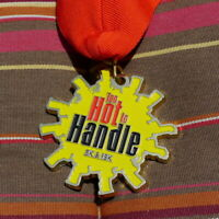 Too Hot To Handle 5K and 15K Run Medal Boerne City Lake Texas