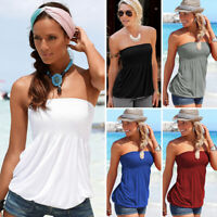 Sexy Women Off Shoulder Elastic Tube Tank Tops Blouse Strapless Bandeau Shirts B