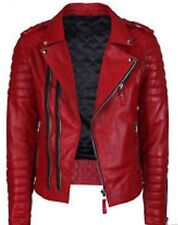 Mens Boda Motorcycle Classic Diamond Red Lambskin Leather Quilted Biker Jacket