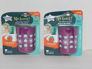 Tommee Tippee Cups No knock Won't Tip Over ~ No Lid, Open Top TWO CUPS