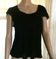 Sigrid Olsen Women's Dressy Top Shell Size M Black Silk Rayon Crochet Trim Lined