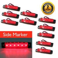 10Pcs Rojo 12v 6 Led Front Side Marker indicadores Luces Lámpara Camión Remolque