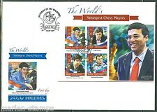 MALDIVES  2015 THE  WORLD'S STRONGEST CHESS PLAYERS ANAND KRAMNIK  SHT FDC