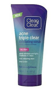 Clean and Clear Acne Triple Clear Exfoliating Scrub, Oil Free, 5 Fl. Oz.