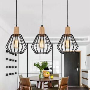 3X Black Pendant Light Modern Chandelier Lighting Wood Ceiling Lamp Home Lights