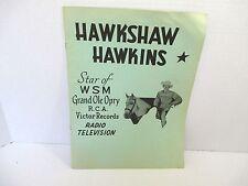 Vintage 1957 Hawkshaw Hawkins Grand Ole Opry Autograph Music Program Shepard