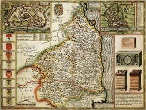 NORTHUMBERLAND 1610 by John Speed - reproduction old map