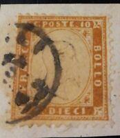 1862 REGNO CENT.10 BISTRO ocra N.1 OTTIMA CENTRATURA SU frammento