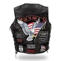 leather vest jacket eagle live to ride for biker country NEW big size : S ~7XL