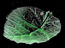 "Mats Jonasson ""Folia"" Green Crystal Leaf Fruit Plate Maleras Glasbruk AB Sweden"