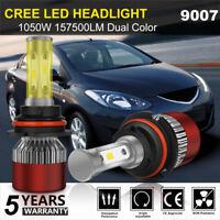 9007 HB5 CREE LED Headlight Conversion Kit Bulbs 1050W 157500LM Lamp Hi/Lo 6000K