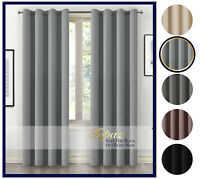 Thick Thermal Blackout Ready Made Eyelet Ring Top Pair Curtains Panel + Tie Back