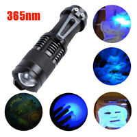 Zoomable UV 365nm Ultra Violet LED Flashlight Torch Light Blacklight AA Battery