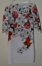 ASOS SHIFT DRESS FLORAL WHITE/RED 3/4 SLEEVES TALL SIZE 8 SMALL