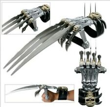 "17"" Wolverine Claw Sword Skeleton Hand W/ Skull Face Handle & Leather Arm Strap"