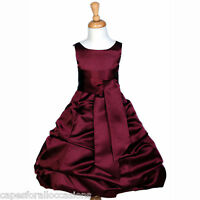 BURGUNDY RED TODDLER PAGEANT WEDDING FLOWER GIRL DRESS 2 3T 4 5T 6 8 10 12 14 16