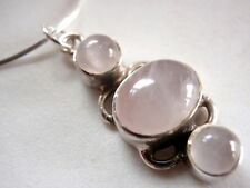 New Triple-Gem Rose Quartz 925 Silver Necklace India