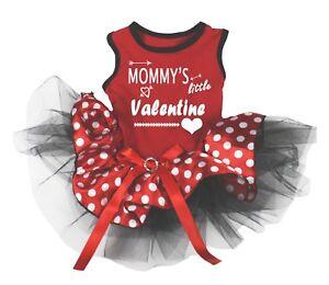Mommy's Little Valentine Red Cotton Top Polka Dots Tutu Pet Dog Puppy Dress