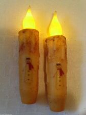 """Snowman Red Scarf Timer Taper Candles Set of 2 ~ 4.5"""" Grungy Cream Primitive"""