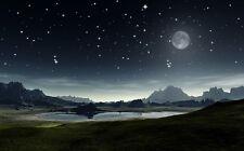 LED Light Up Sunset Mountain Night Sky Illuminated Wall Art 70cm x 50cm