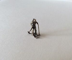 Cool!!! Sterling Silver Skiing Skier Winter Sports Olympics Charm