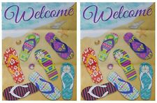 """Welcome (Beach & Sandals) 12.5""""x18"""" Double Sided Polyester Sleeve Garden Flag"""