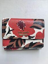 KATE SPADE Designer POPPY Floral Saffiano Leather Mini Wallet NWOT
