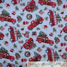 BonEful FABRIC FQ Cotton Quilt White Winter Scenic Xmas Tree Red Truck Dog Camp