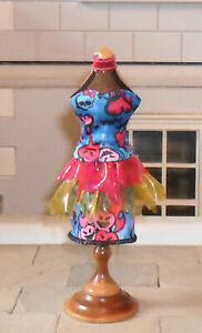 1/12TH SCALE DOLLS' BLUE AND PINK DRESS