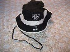 BROOKLYN NETS Bucket Cap Adidas with TIES Hat NBA BLACK WHITE L/XL NEW