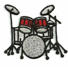 Drum Kit - Red/Black/Silver - Music Set - Iron on Applique/Embroidered Patch