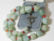 Chunky Celadon Green Jade Nugget Bead Red Coral Peridot Silver Necklace 12d 26
