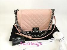 Authentic Chanel Le Boy Pink Patent Leather Medium Flap Bag SHW