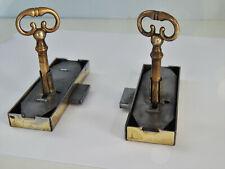 "3.3/8"" Old French 2 vintage cabinet locks + keys,furniture,works well,lock ""LP"""