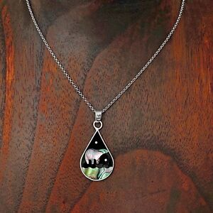 Artisan Abalone Bear and the Night Sky Pendant from Taxco Mexico