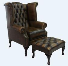 Chesterfield Queen Anne High Back Wing Chair Gold Leather + Footstool