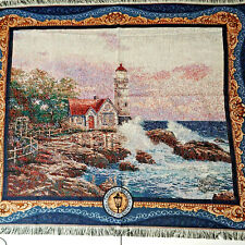 "Thomas Kinkade Painter of Light Tapestry Throw Blanket 46"" x 57"" 2003 Lighthouse"
